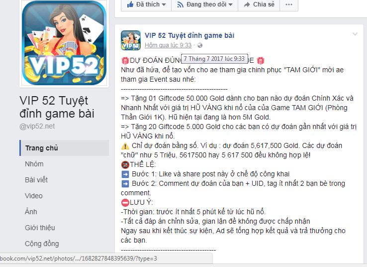 Hình ảnh huong dan nhan giftcode vip 52 in Hướng dẫn cách nhận giftcode game bài vip 52