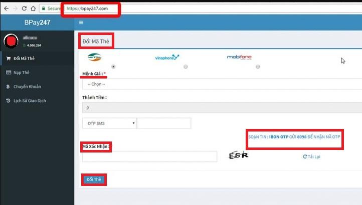 Hướng dẫn cách sử dụng cổng thanh toán BPay247 của Bonclub icon