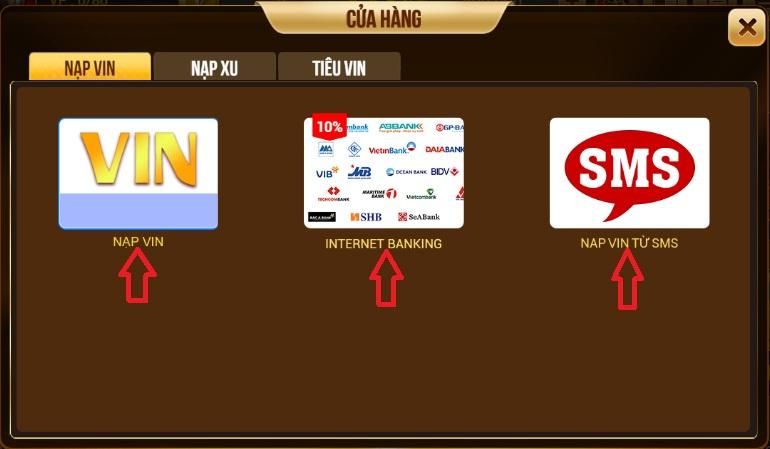 Hướng dẫn nạp vin và nạp xu trên cổng game bài Xeng.club icon