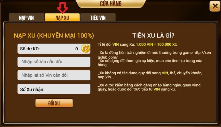 Hình ảnh 1l in Hướng dẫn nạp vin và nạp xu trên cổng game bài Xeng.club