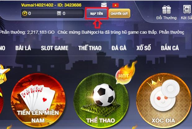 Hướng dẫn nạp đồng tiền Go trong Go Win nhanh nhất icon