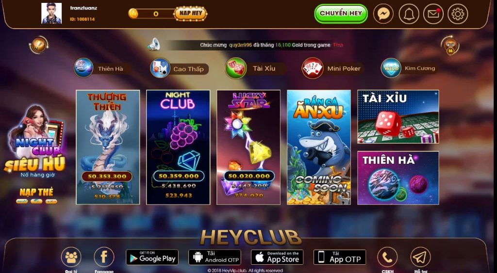 Hình ảnh heyvip games 2 1024x563 in Heyvip Club game bài đổi thưởng online uy tín nhất hiện nay